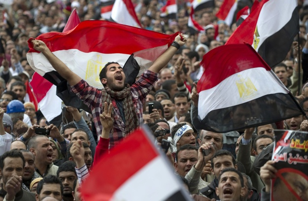 Protesters in Tahrir Square against the Mubarak Regime in February of 2011 (PEDRO UGARTE/AFP/Getty Images)